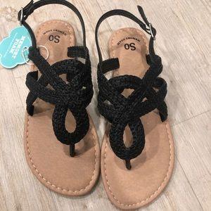 SO Memory Foam Black Rope Sandals Girls Size 4